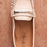 Natures Breeze Fancy Footwork Faux Leather Chain Accent Slip On Loafers Mindie-21 - Beige