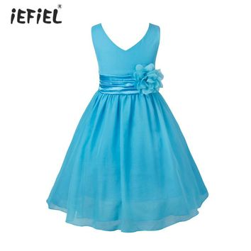 2017 Flower Girls Dresses Summer Chiffon Tutu Princess Wedding Baby Flower Tulle Casual Party Dress Kids Floral Dress For Girls