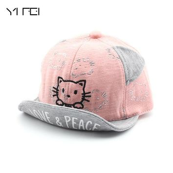 Trendy Winter Jacket 2018 New Snapback Cat Baseball Cap Kid Girls Adjustable Caps Fashion Hello Kitty Minnie Children Hats Baby's Soft Brim Cap AT_92_12