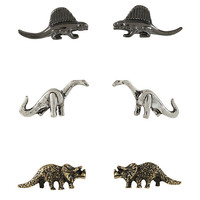 Blackheart Mixed Metal 2D Dinosaur Earring Set