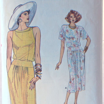 Vogue Top and Skirt Pattern 9607, Madmen Style, Very Easy Design, 80s does 60s, Size 8, 10, 12