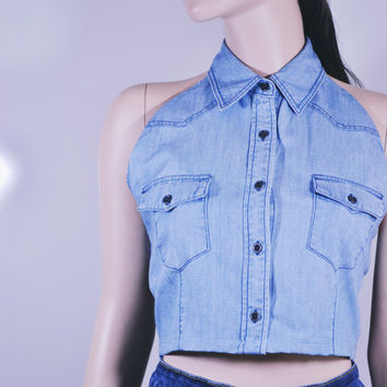 Halter Crop Top | Crop Top 90s Crop Top | Reworked Upcycled Denim Shirt Pastel Grunge Clothing | Soft Grunge | Backless Top