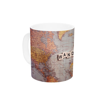 "Sylvia Cook ""Wanderlust Map"" World Ceramic Coffee Mug"