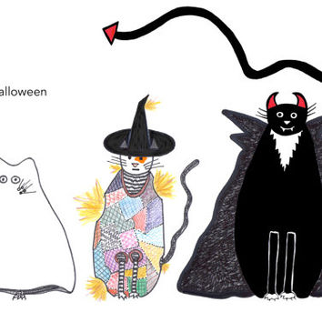Cat card - Halloween Funny Cats Three Cats Ghost Scarecrow Witch Vampire Dracula