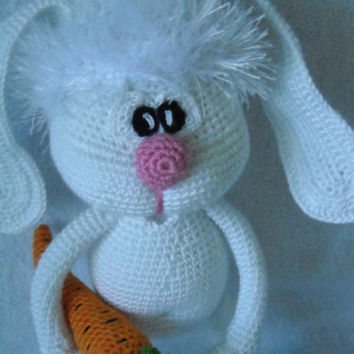 Bunny - fluffy tail and long ears. Amigurumi crochet, Bunny Crochet, Stuffed Doll, Toy.
