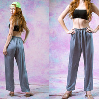 vtg 90's silver silky pants, 1980s metallic shiny grey gray, active wear bottoms, 1990s vintage american apparel tumblr, vaporwave aesthetic