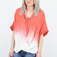 Ombre Dip-Dye Twisted Hem Button Down Shirt {D. Coral}
