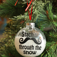 Staching Through the Snow - Mustache Christmas Ornament - Curly Handlebar