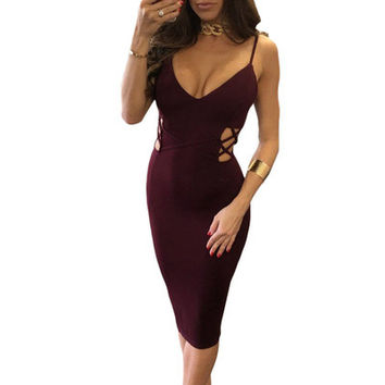 Fashion Hollow Bandage Sexy Slim Package Hip Sleeveless V Neck Erotic One Piece Dress _ 12186