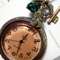 Alice in Wonderland Pocket Watch Necklacebig by CeciliaJewelry
