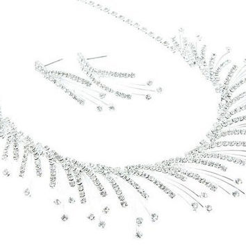 SPARKLY SPRAY RHINESTONE BRIDAL BRIDESMAID NECKLACE & EARRING SET Silver DD2
