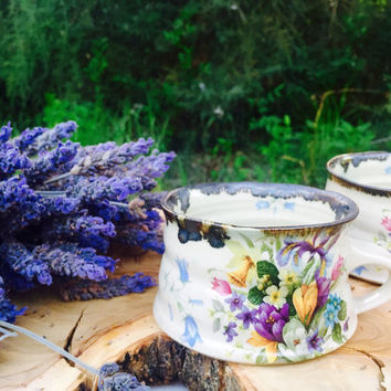 ceramic coffee cups with iris flowers , morning coffee / tea lovers - espresso cups - handmade pottery - unique gift