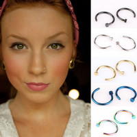 (2Pcs)Body Ring Fake Piercing Jewelry Body Jewelry 5 Colors Nose Ring Clip On