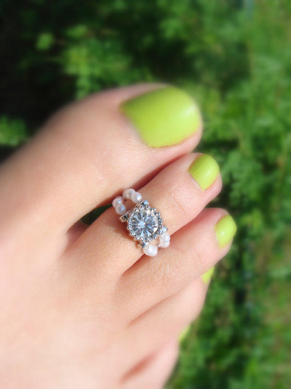 Diamond, Pearl And Silver Bead Toe Ring From Fancy Feet