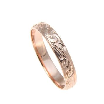 Sterling Silver Pink Rose Gold 4mm Hawaiian Scroll Hand Engraved Ring Band