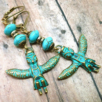 Turquoise Owl Spirit Totem Brass Hypoallergenic Dangle Earrings