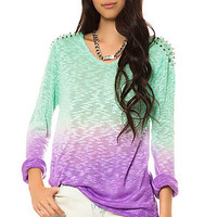 The Ombre Spike Sweater in Green