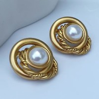 Vintage Stunning Brushed Goldtone Faux Pearl Round Pierced Earrings  -