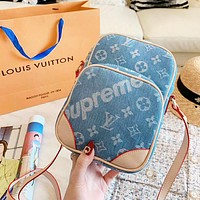 LV & Supreme New fashion letter monogram print shoulder bag women Blue