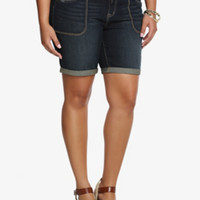 Torrid Skinny Mid-Shorts - Dark Wash with Square Pockets