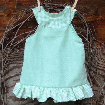 Baby Girl green snap shoulder dress, ruffles, lined, sizes 6, 9, 12, months