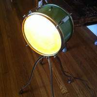 Lamp made from an antique drumset.