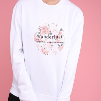 Wanderlust Definition Graphic Crewneck Sweatshirt