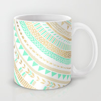 Mint + Gold Tribal Mug by Tangerine-Tane