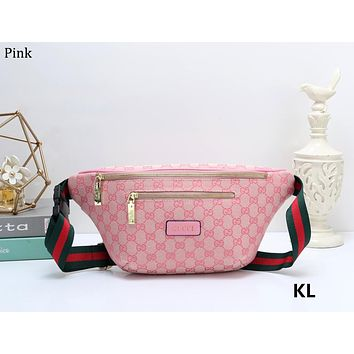 GUCCI simple casual classic double G pocket small bag Pink