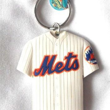 TitFus MLB New York Mets Jersey Thick Rubber Keychain Laser Cut 2 Sided