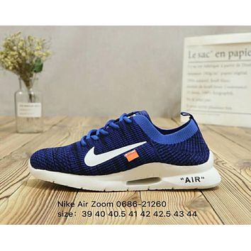 Nike Air Zoom & off-white knits flying line cushioning comfortable socks sneakers F-A36H-MY blue