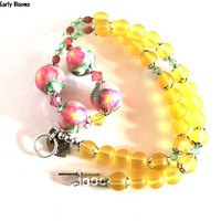Pink Flower Necklace with Yellow Beads Swarovski Crystals Handmade