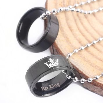 Cool RJ New His Queen Her King Crown Letter Round Pendant Black Lover Bead Chain Necklaces Couple Women Men Valentine's Day GiftAT_93_12
