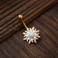 belly ring belly button ring belly button jewelry sun charm fire opal boho bohemian jewelry