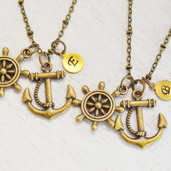 personalized best friend necklace,anchor necklace,ship wheel jewelry,friendship,bridesmaid gift,graduation,keepsake,ocean beach sailing