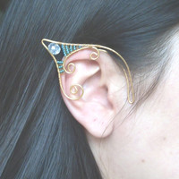 Gold Plated Handmade Wire Wrapped Faceted Glass & Seed Bead Elf Ear Cuffs. Faery Earcuffs, Pixie Ear Cuffs LARP