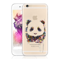 Watercolor Animal Panda Eyes Pattern Soft Phone Case Cover