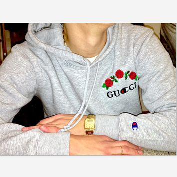 GUCCI : Flower rose print champion sweater grey hoodie pullover sweatershirt