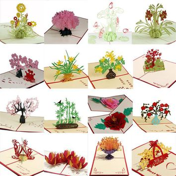 15x15cm 3D Christmas Themed Pop Up Cards for Birthday Gift Holiday Greeting Card with Envelope Wedding Party Decoration