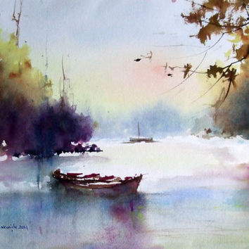 Original Watercolor Painting, Landscape, Blue, Violet,  Boat, Lake