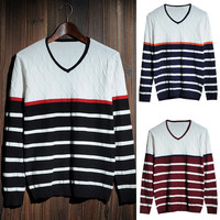 Color Block Striped Panel V-Neck Knit Sweater