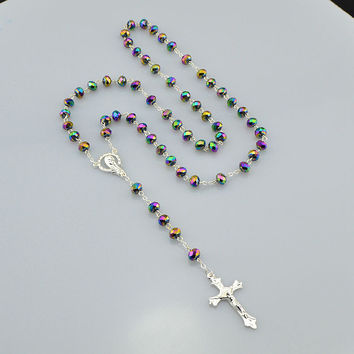 NEW Catholic Saint Virgin Mary Rosary Sparkling Mystery Crystal Beads Necklace Silver Plated Jesus Crucifix Cross Pendant