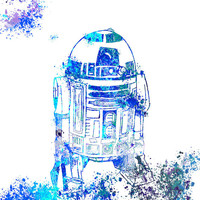 Star Wars Fine Art Print R2D2 Poster Splash Painting Children's Star Wars Character Wall Art Home Decor R2D2 Splash Art