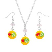 MJartoria Fruit Cake Pendant Adjustable Cuban Chain Necklace with Matching French Wire Earrings