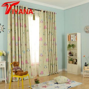 Cartoon Owl Printed Design Curtains for Kids Children Blue Thick Blackout Curtains for the Bedroom Window Living Room P220Z20