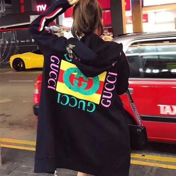 DCCKN6V Gucci' Women Flower Embroidery Letter Pattern Print Hooded Long Sleeve Zip Cardigan Sweater Medium Long Section Coat H-AGG-CZDL