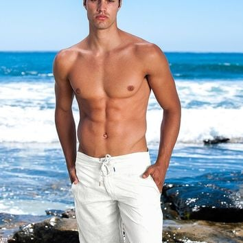 White Linen Shorts - Sauvage Activewear