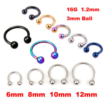 2 Pieces Gold Silver Surgical Stainless Steel Circular Barbells Horseshoe Nose Ring Lip BCR Body Piercing earring tragus ring