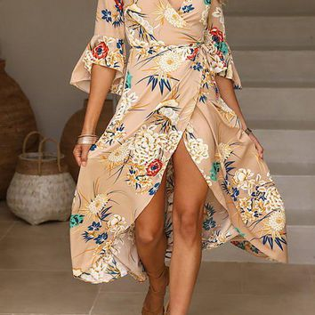 A| Chicloth Maxi Dress Swing Beach Bell Sleeve Holiday Dress