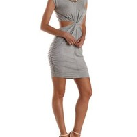 Ruched & Twisted Cut-Out Bodycon Dress